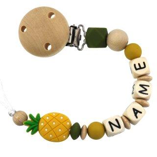 PREMIUM Schnullerkette mit Namen aus Holz und Silikon Ananas div. Farben