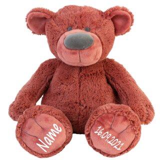 Stofftier Teddy Bär rostrot Geschenk mit Namen und Geburtsdatum personalisiert