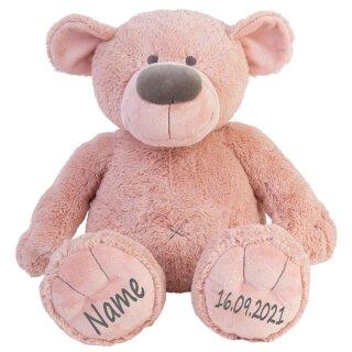 Stofftier Teddy Bär altrosa Geschenk mit Namen und Geburtsdatum personalisiert