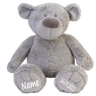 Stofftier Teddy Bär grau Geschenk mit Namen und Geburtsdatum personalisiert