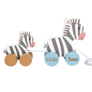 Nachziehtier Zebra aus Holz mit Namen und Geburtsdatum graviert