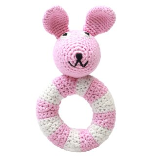 Handmade Baby Ring Rassel gehäkelt Hase rosa