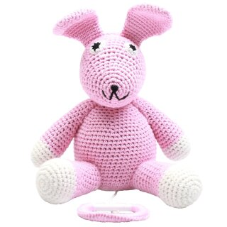 Handmade Baby Spieluhr gehäkelt Hase rosa