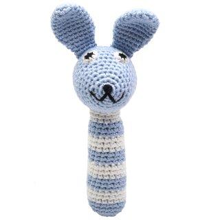 Handmade Baby Rassel gehäkelt Hase hellblau
