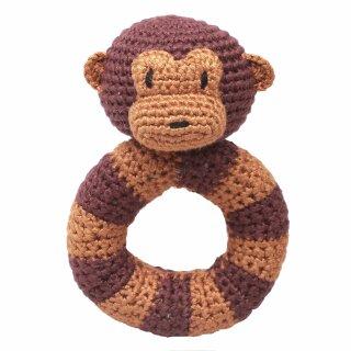Handmade Baby Ring Rassel gehäkelt Affe braun