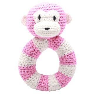 Handmade Baby Ring Rassel gehäkelt Affe rosa