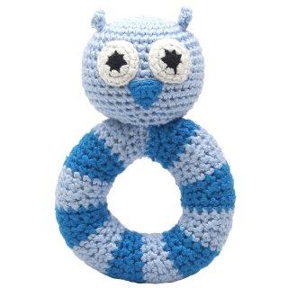 Handmade Baby Ring Rassel gehäkelt Eule blau