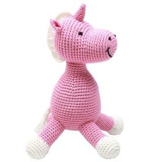 Handmade Baby Spieluhr gehäkelt Einhorn rosa